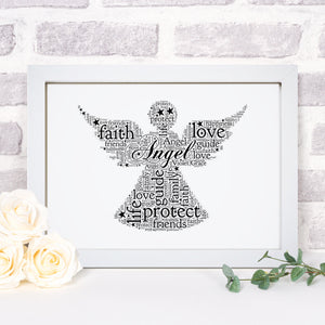 Personalised Angel Word Art Print