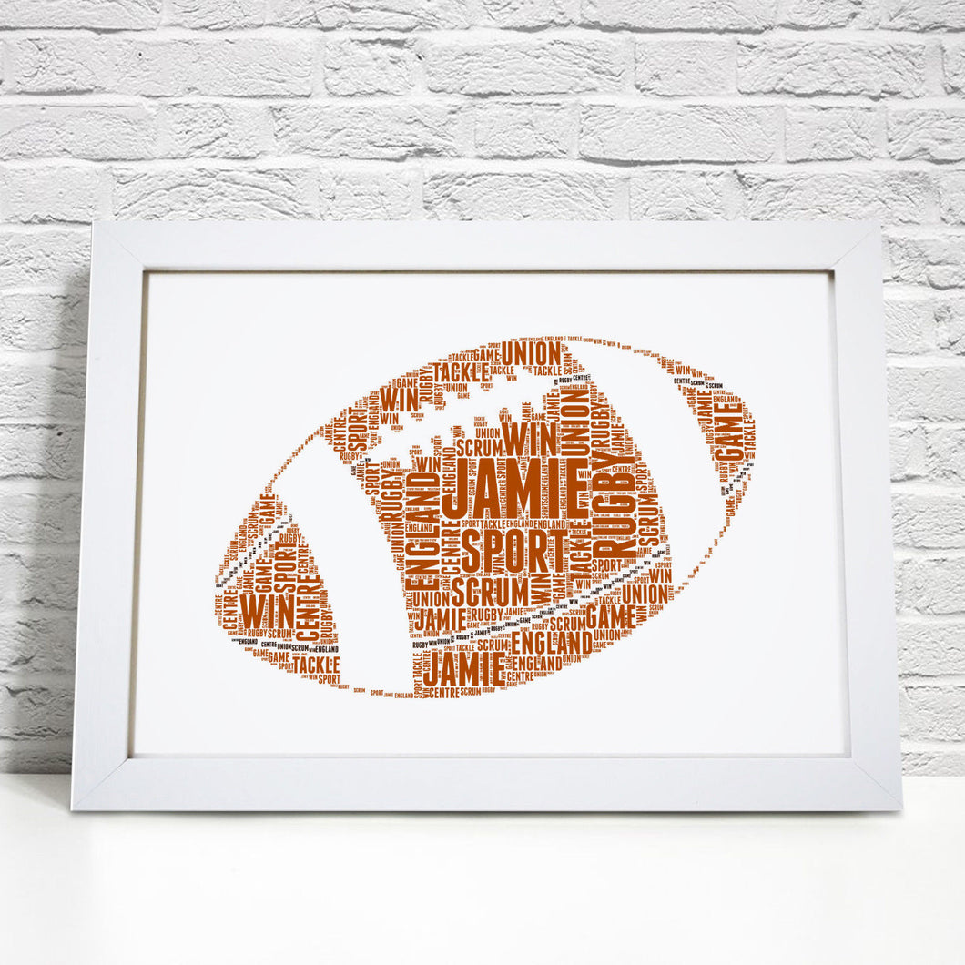 Personalised Rugby Ball Word Art Print