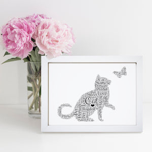 Personalised Cat Word Art Print