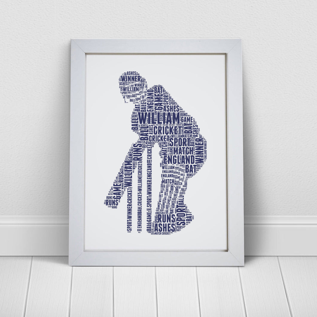 Personalised Cricket Player Word Art Print