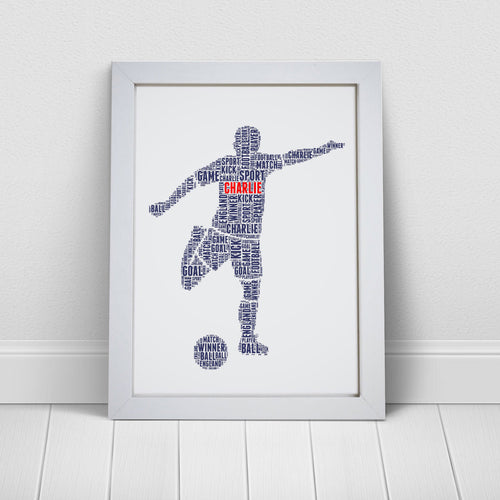 Personalised Football Player Word Art Print