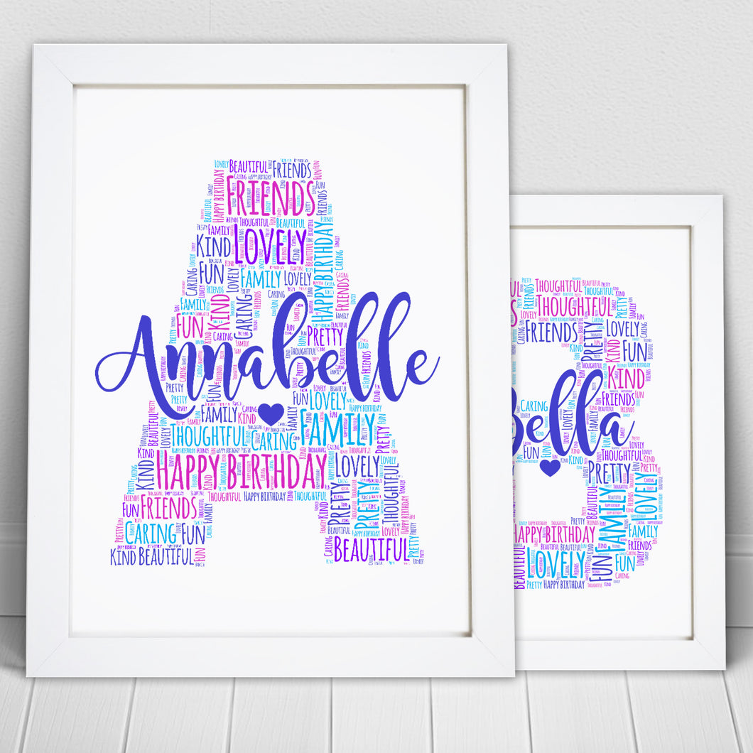 Personalised Letter Name Initial Word Art Print