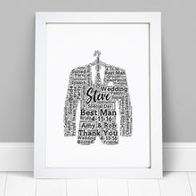 Personalised Best Man Suit Word Art Print
