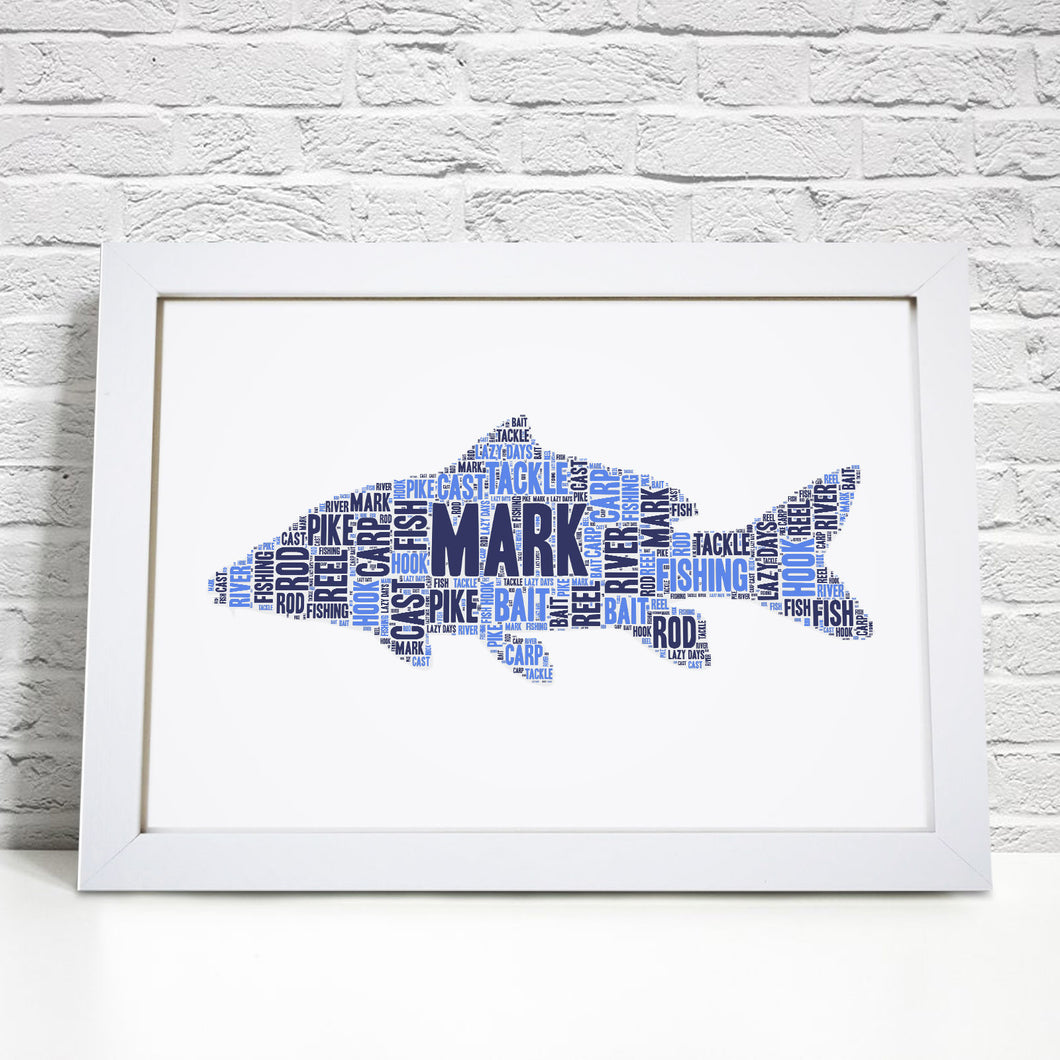 Personalised Carp Fish Word Art Print
