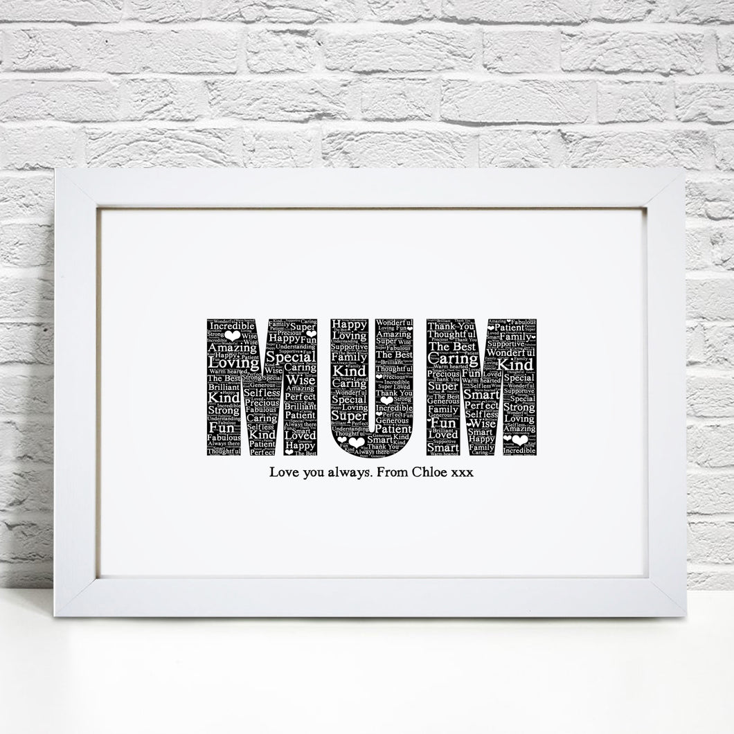Personalised Like A Mum Word Art Print