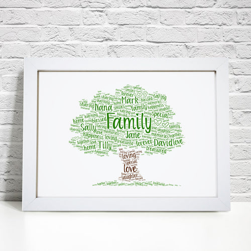 Personalised Family Tree Word Art Print