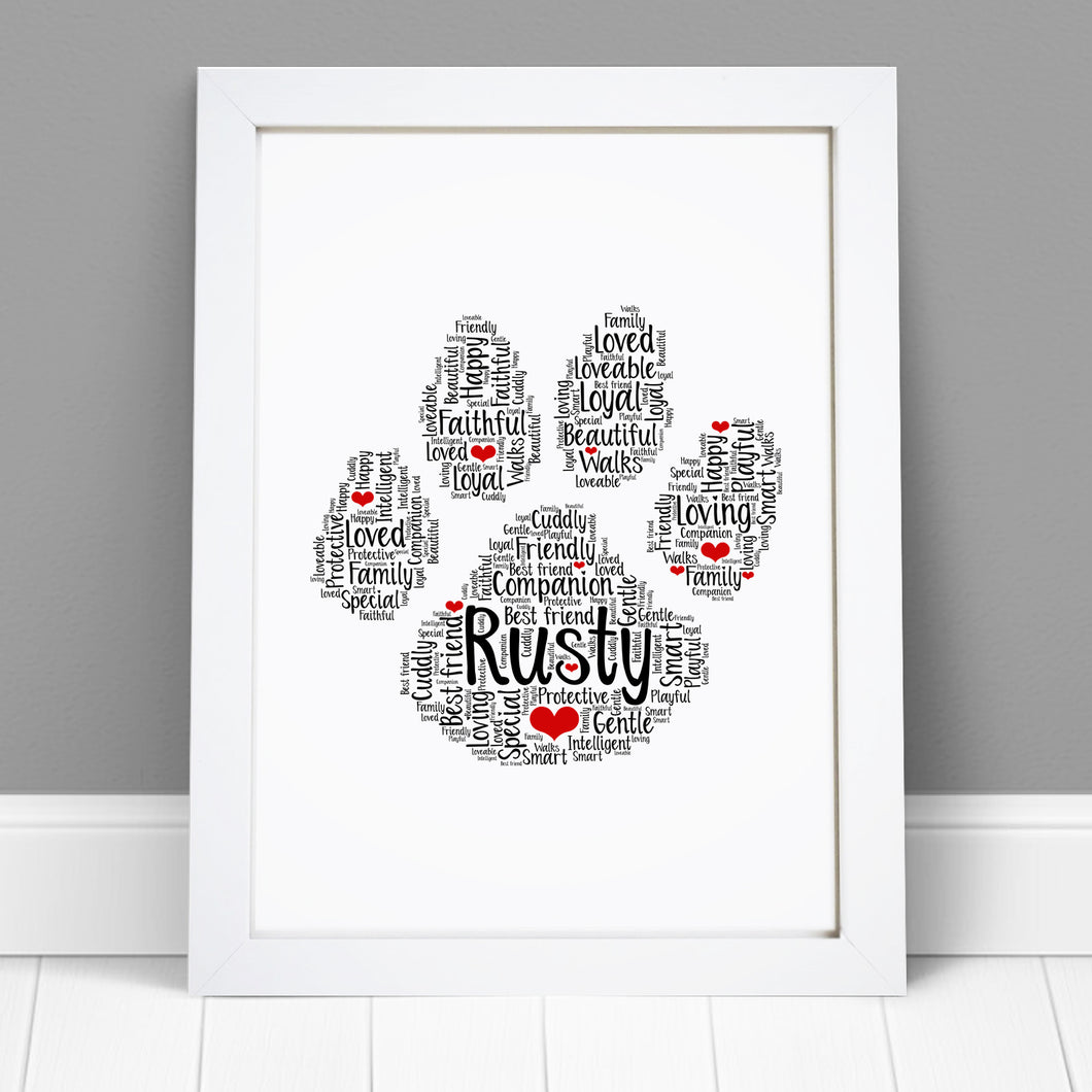 Personalised Cat Dog Animal Word Art Print