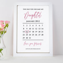 Personalised The Day You Became My Son/ Daughter Calendar Print