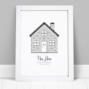 Personalised Heart House Home Print