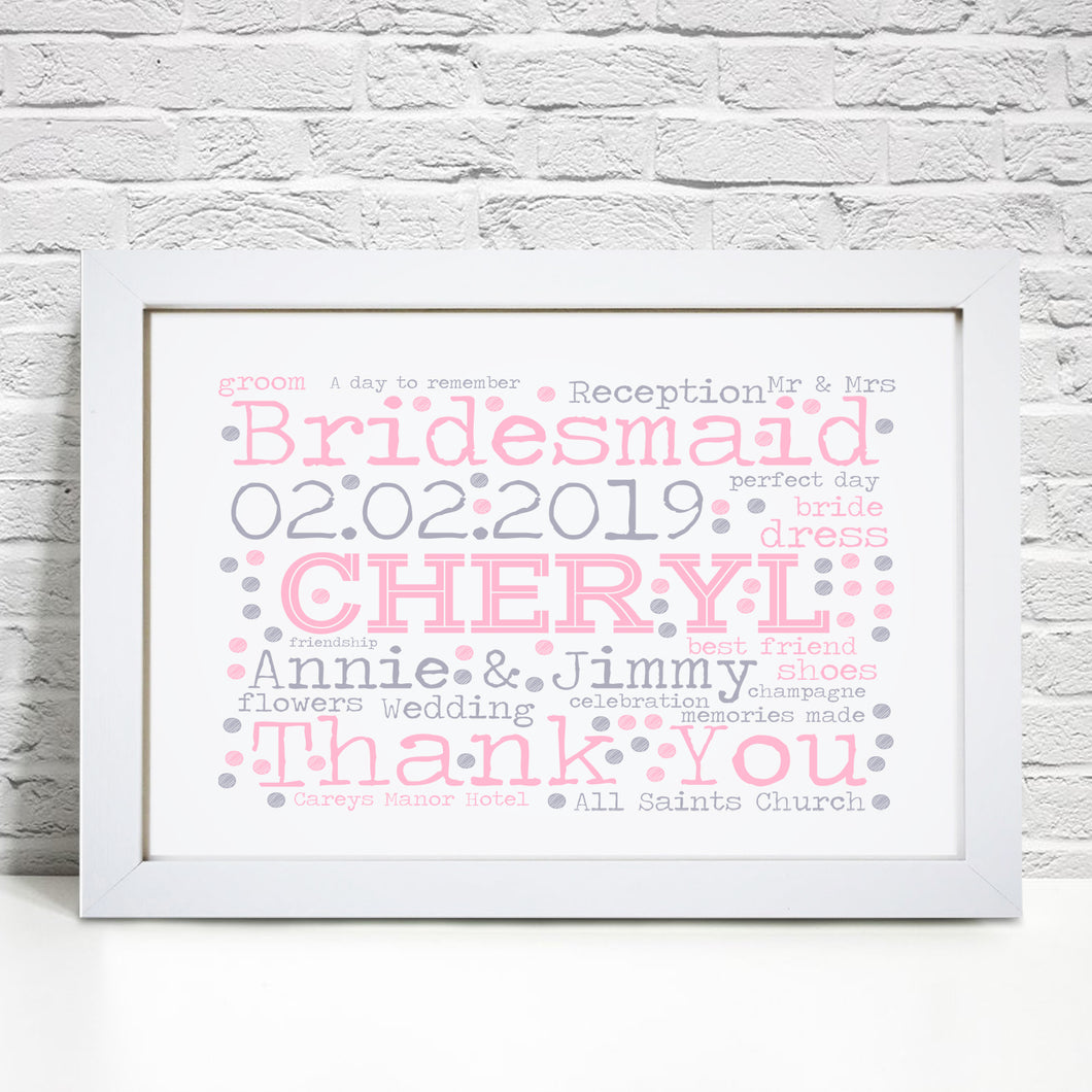 Personalised Bridesmaid Flower Girl Word Art Print