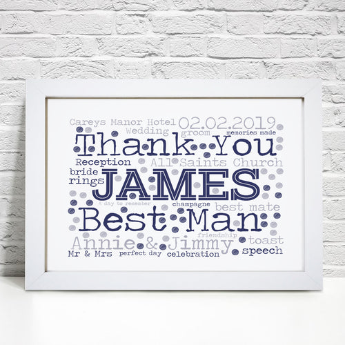 Personalised Best Man Word Art Print