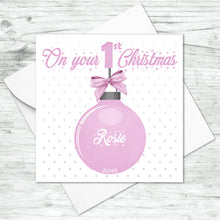 Personalised Babies First Christmas Bauble Card