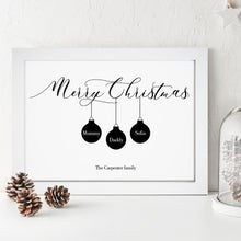 Personalised Christmas Baubles Family Print
