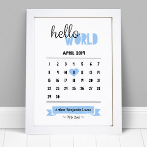 Personalised New Baby Boy Girl Date Of Birth Print