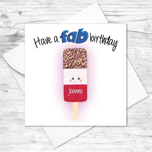 Personalised Fab Lolly Birthday Card