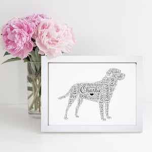 Personalised Labrador Retriever Word Art Print