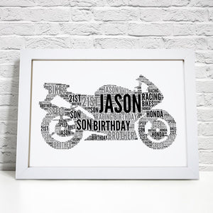Personalised Motorbike Word Art Print