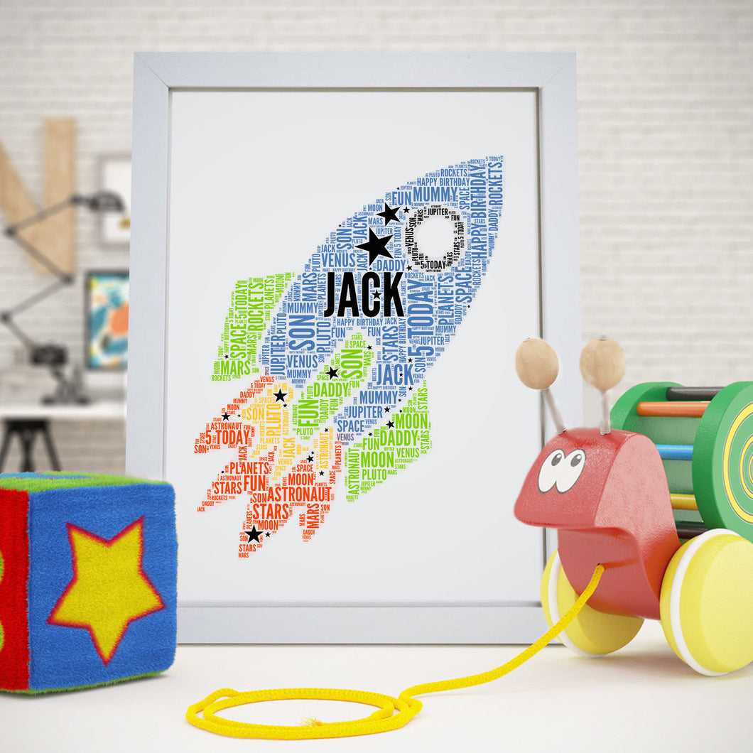 Personalised Space Rocket Word Art Print
