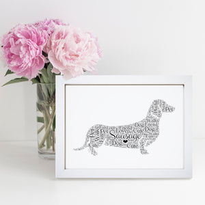 Personalised Dachshund Word Art Print
