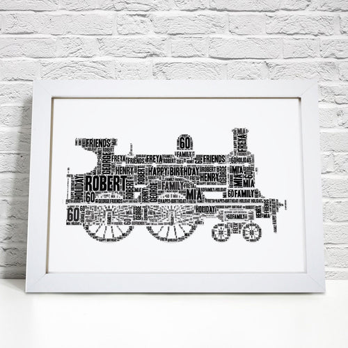 Personalised Steam Engine Train Word Art Print
