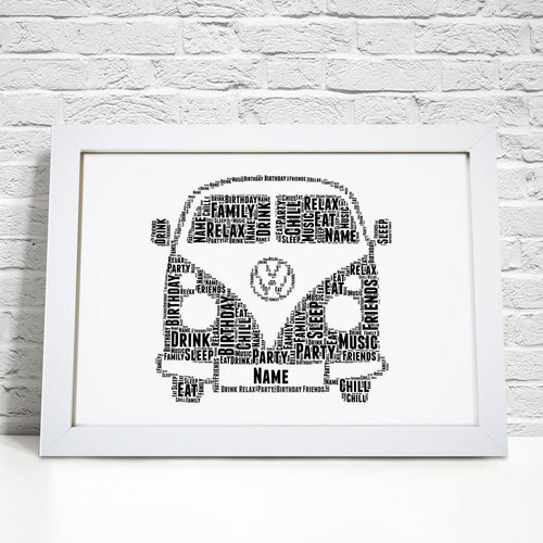 Personalised Camper Van Word Art Print