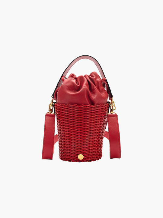 Tonati Woven Leather Bucket | Red