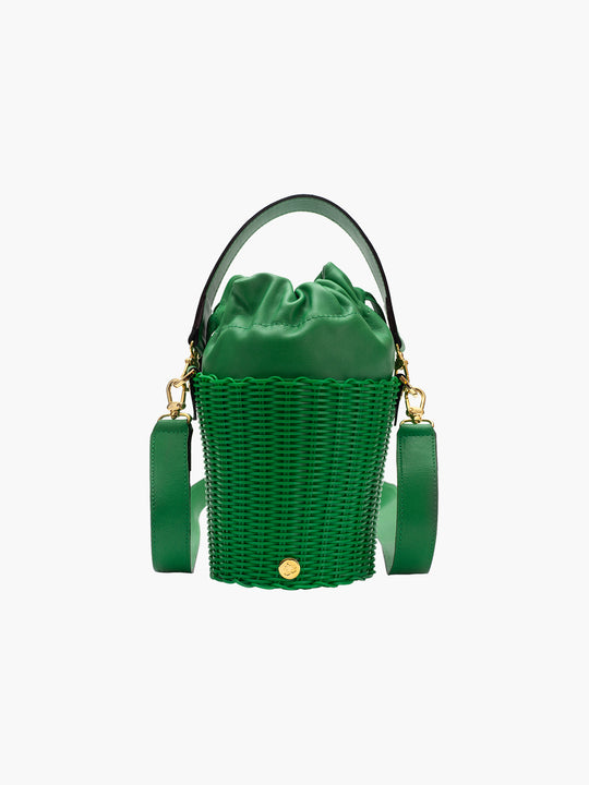 Tonati Woven Leather Bucket | Green
