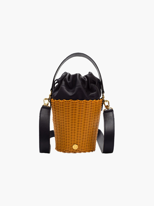 Tonati Woven Leather Bucket | Turmeric