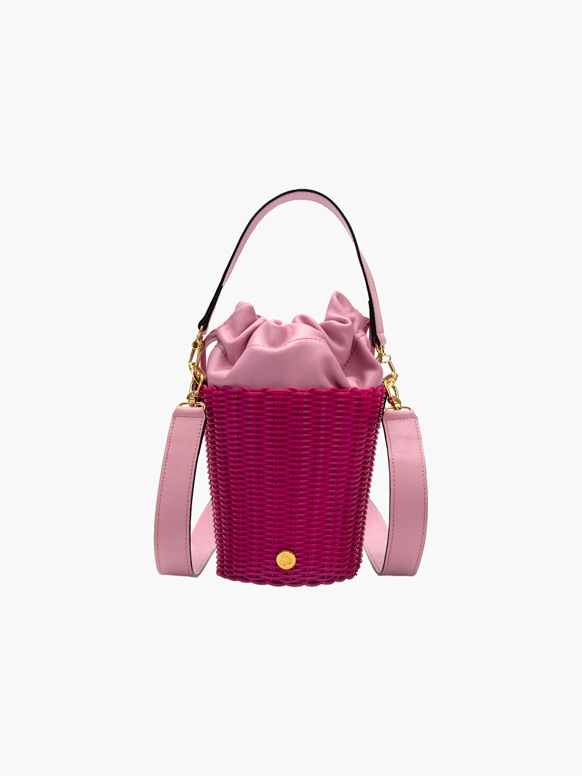 Tonati Woven Leather Bucket | Pink