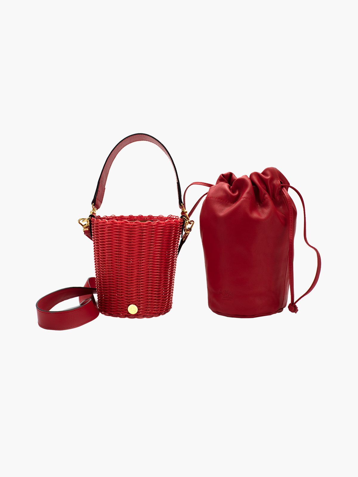 Tonati Woven Leather Bucket | Red Tonati Woven Leather Bucket | Red
