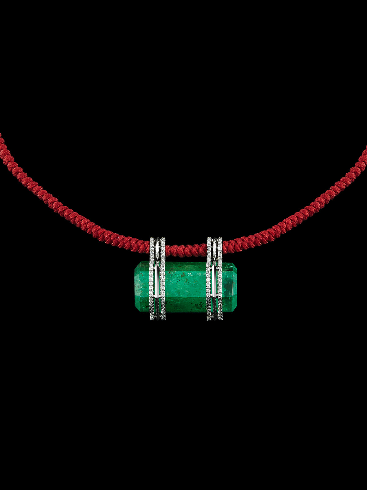 Hexagon Emerald & Diamonds Pendant