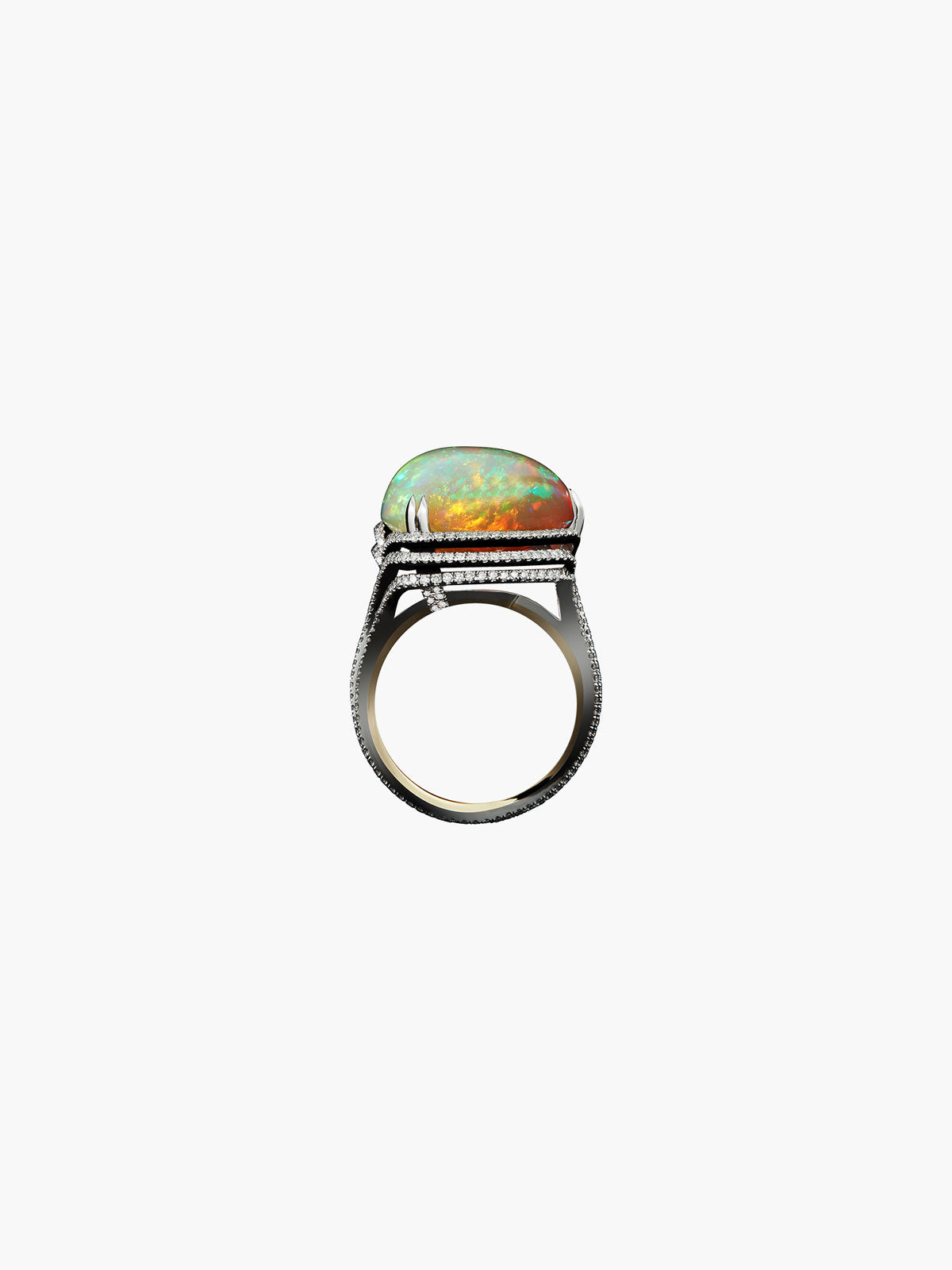 Checkerboard-Harlequin Opal & Diamond Ring