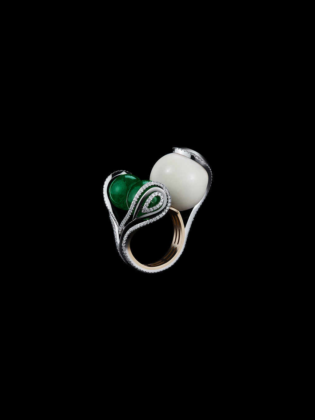 Tagua Seed & Emerald Sphere Ring
