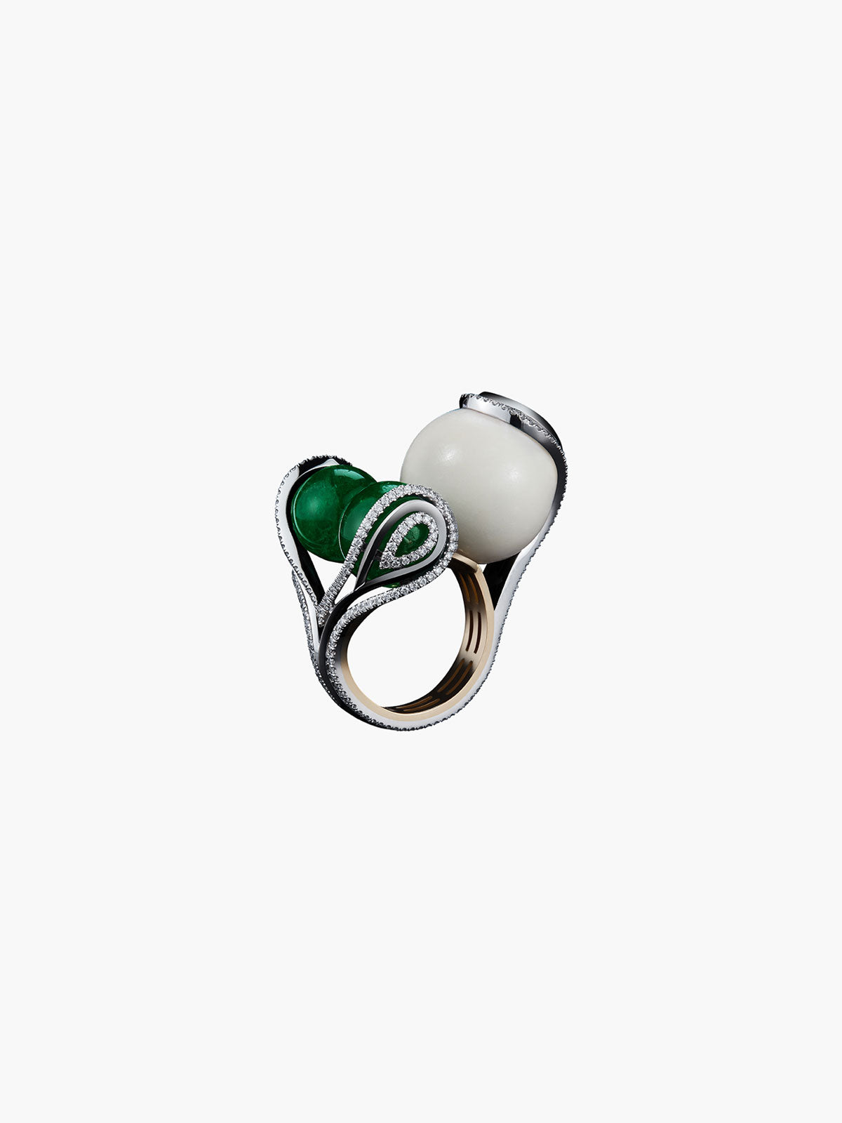 Tagua Seed & Emerald Sphere Ring Tagua Seed & Emerald Sphere Ring