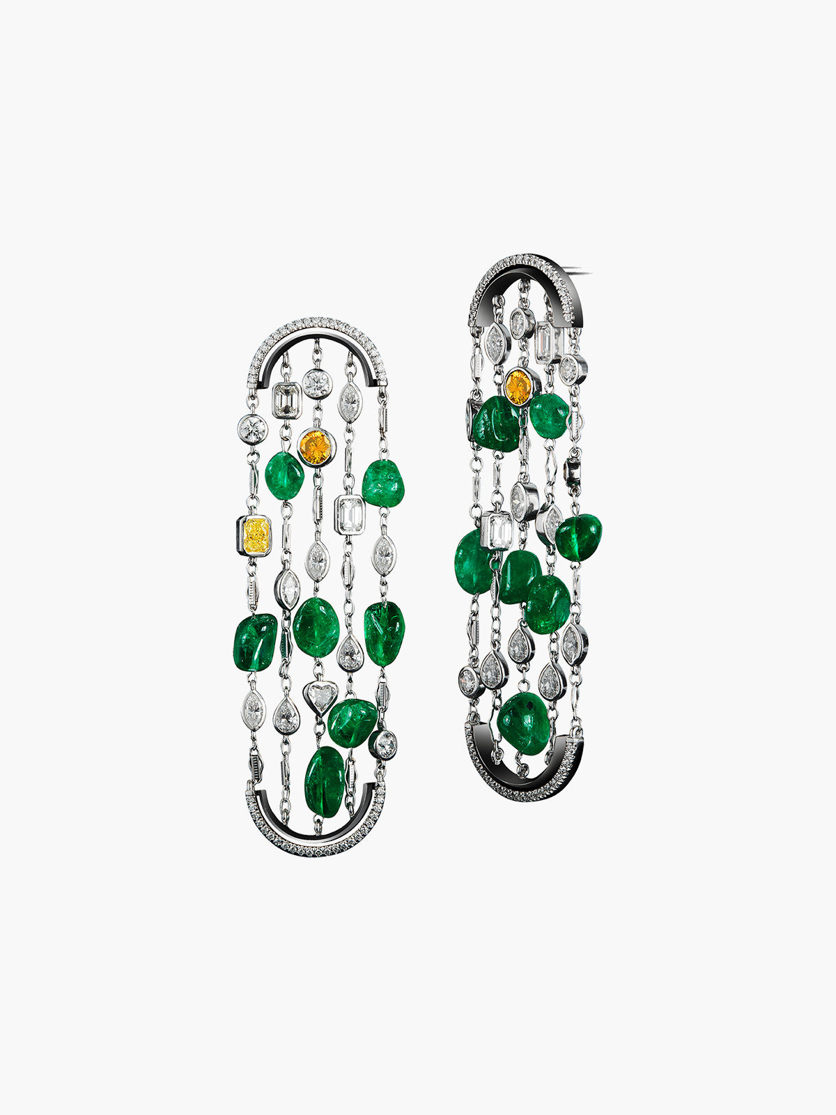 Arched Sautoir Tumble Bead Earrings
