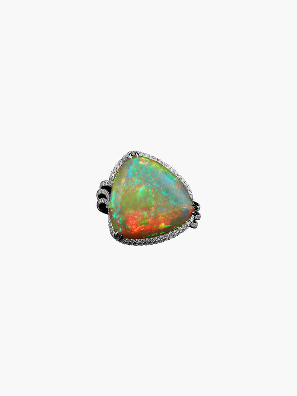 Checkerboard-Harlequin Opal & Diamond Ring Checkerboard-Harlequin Opal & Diamond Ring