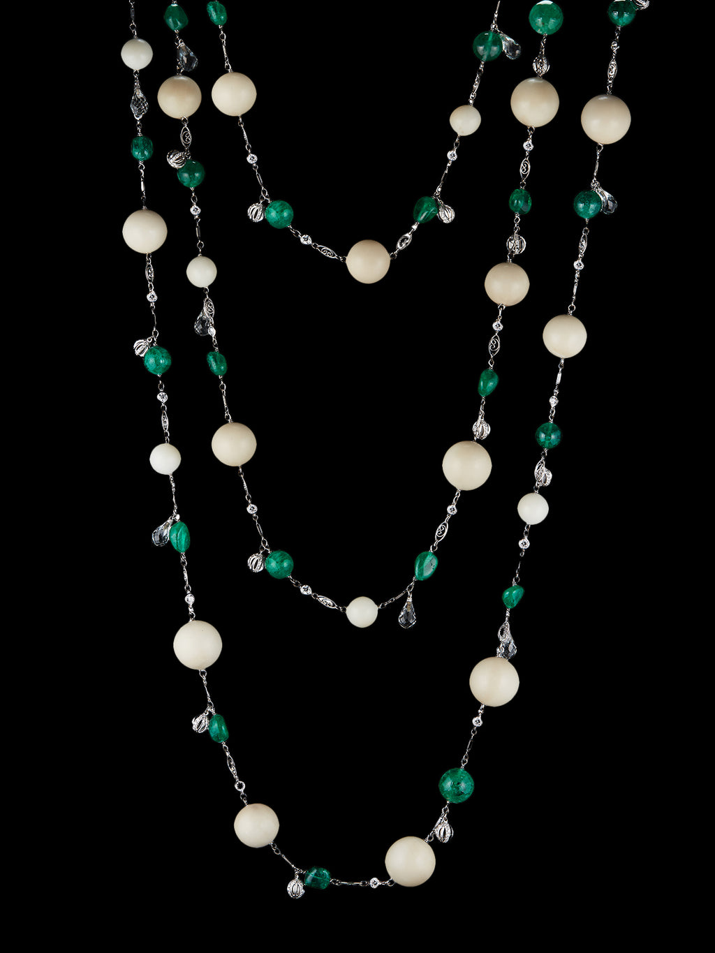 Tagua and Emerald Bead Sautoir Necklace