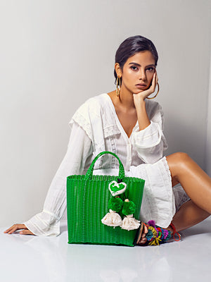 Otomi Beach Tote S | Green Otomi Beach Tote S | Green