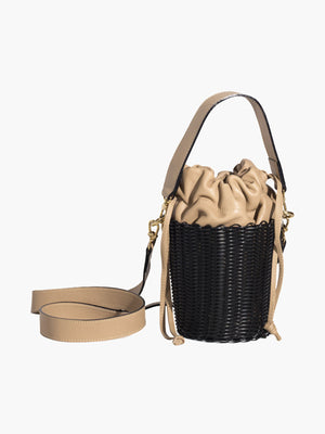 Woven Bucket Bag | Black Woven Bucket Bag | Black