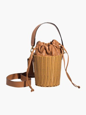 Woven Bucket Bag | Brown Woven Bucket Bag | Brown