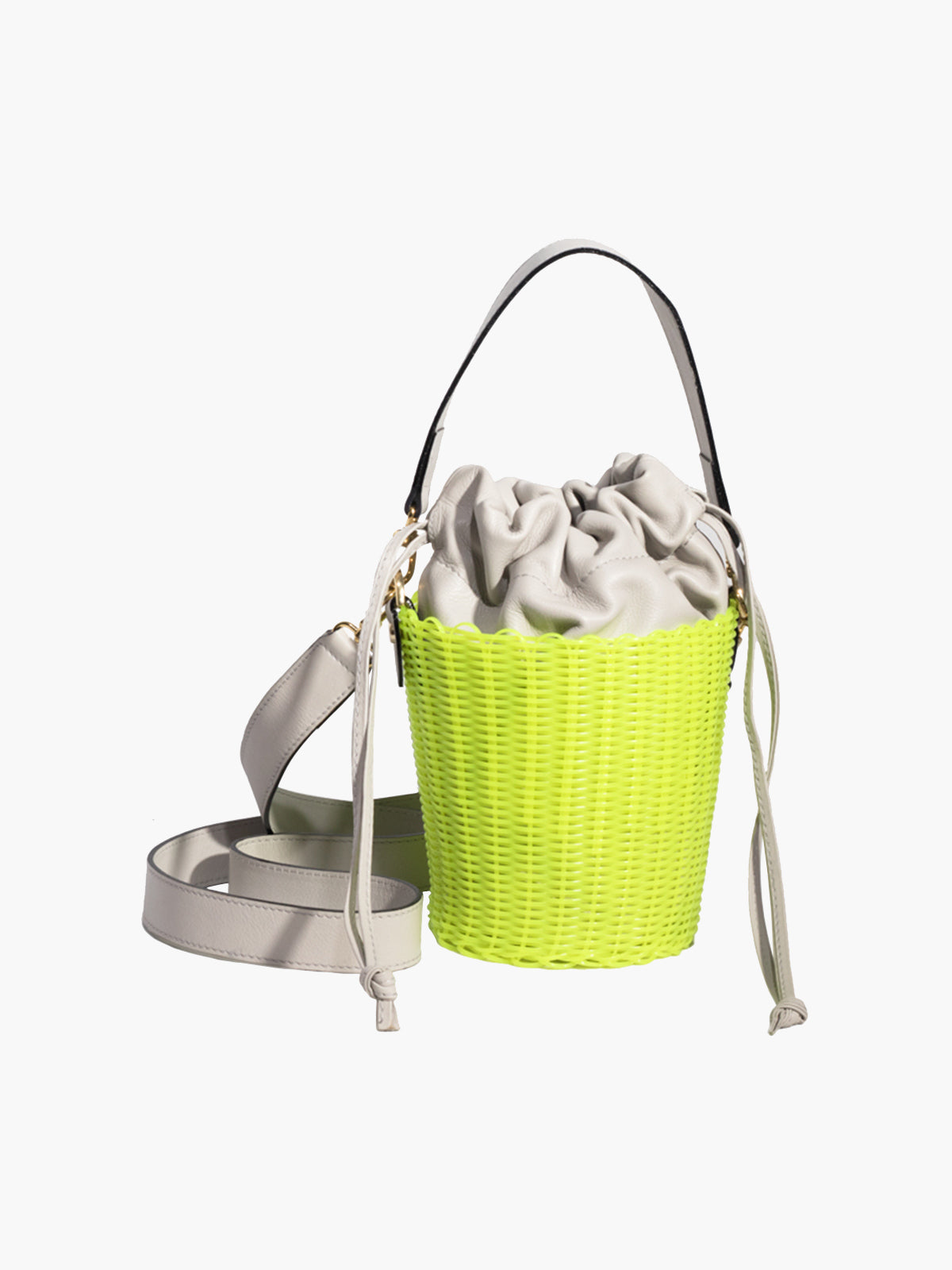 Woven Bucket Bag | Neon Yellow Woven Bucket Bag | Neon Yellow