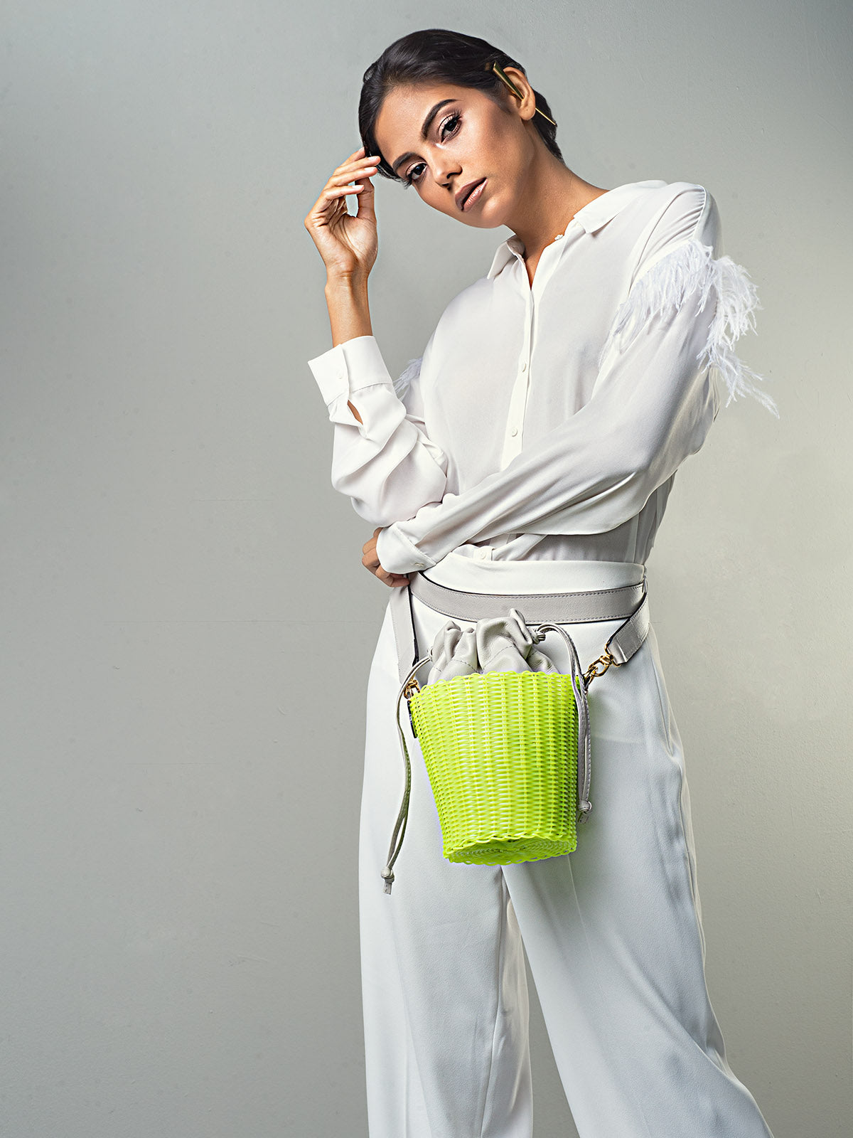 Woven Bucket Bag | Neon Yellow