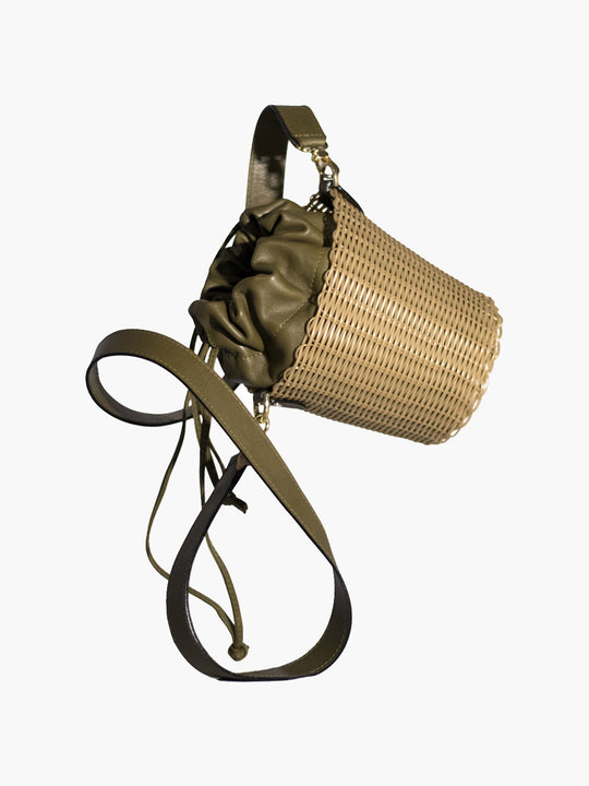 Woven Bucket Bag | Olive Green