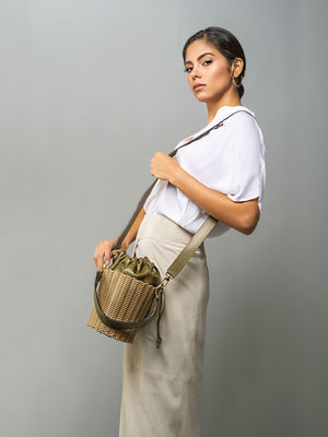 Woven Bucket Bag | Olive Green Woven Bucket Bag | Olive Green