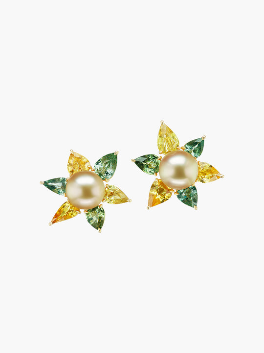Golden Green Flower Earrings