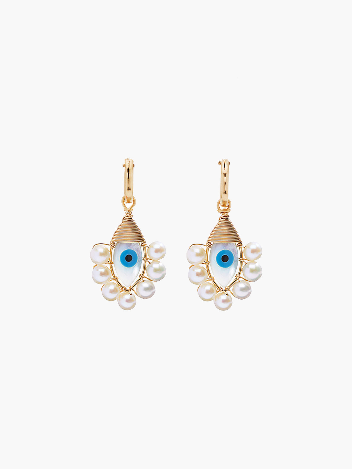 Evil Eye Hoops | Pearl