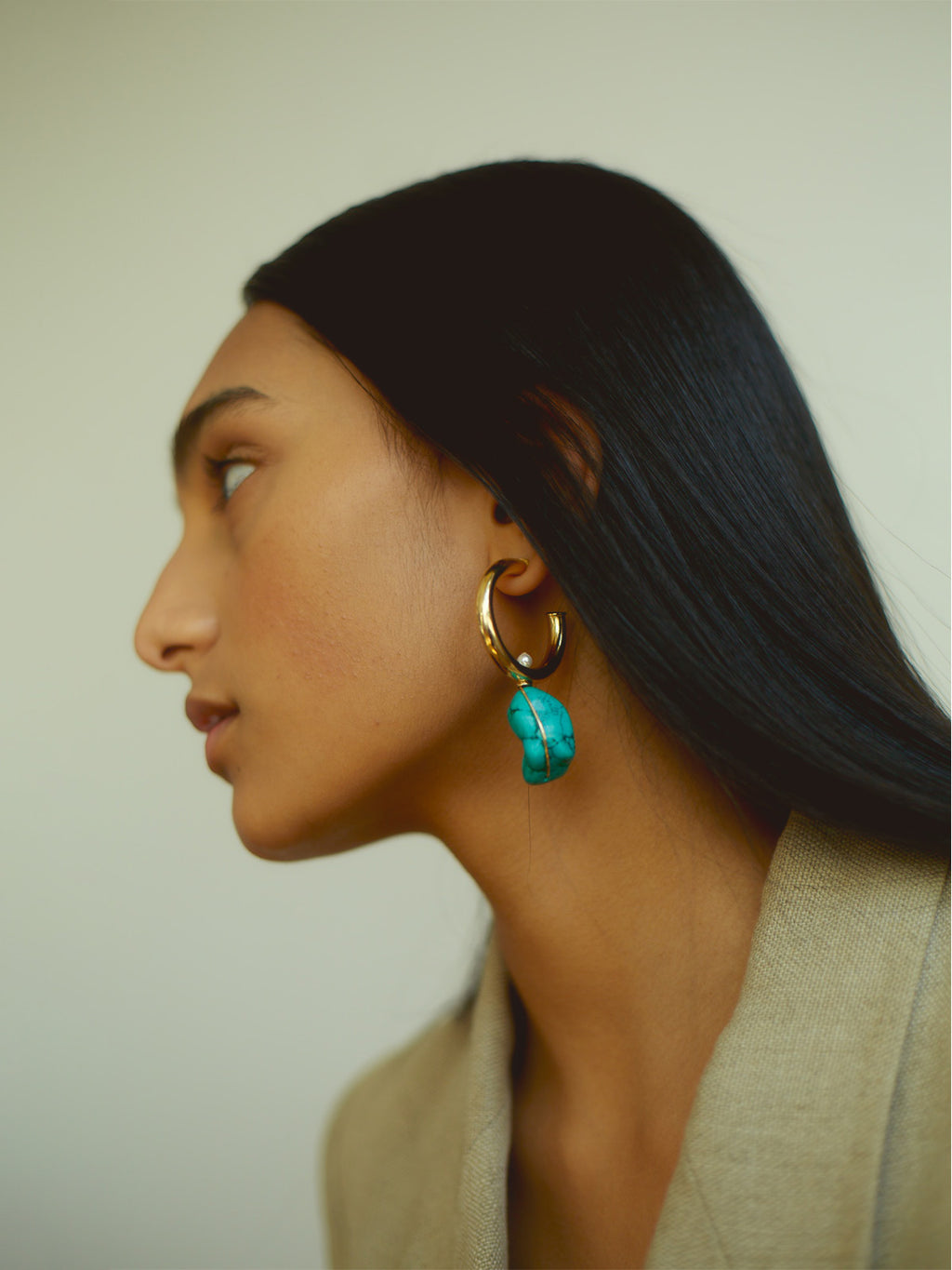 Turquoise Large Alma Hoops