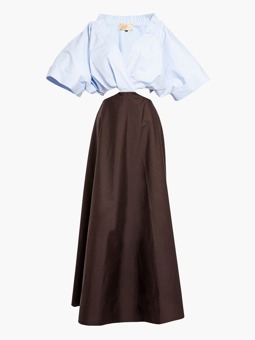 Gloria Dress | Brown With Powder Blue