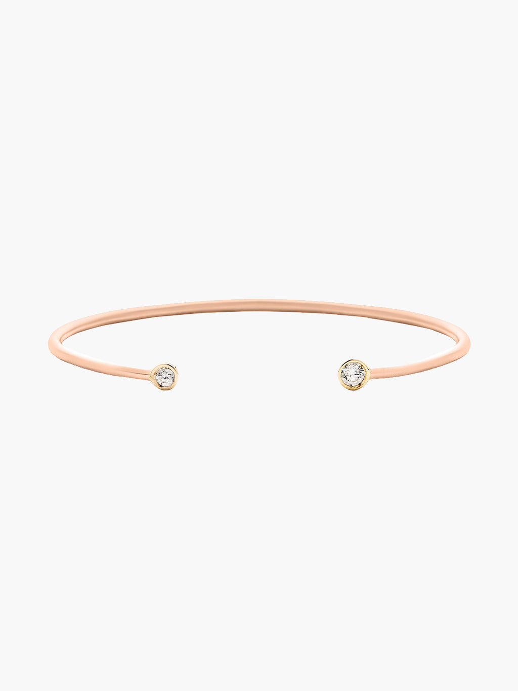 Double Diamond Open Cuff | Rose Gold Matte