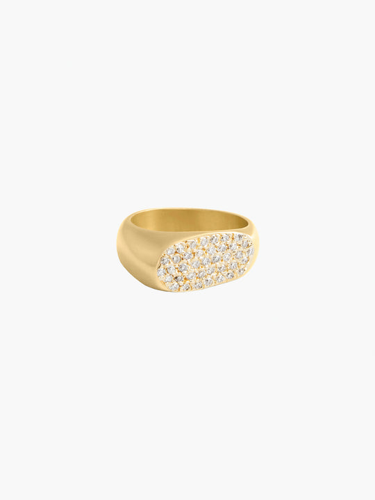 Lipstick Ring | Yellow Gold Pave
